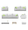 white sofa with green pillow vector image vector image