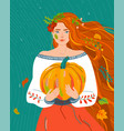 woman like autumn season beauty fall flat female vector image