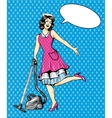 Woman vacuuming floor in house Cleaning service vector image