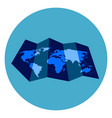 world map icon on round blue background vector image