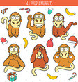 Year of red monkey Doodle set monkeys Chinese vector image vector image