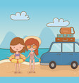 young girls with car on beach scene vector image vector image