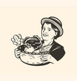 young woman or with a basket vegetables vector image vector image