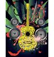 Grunge Guitar and Loudspeakers4 vector image