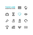 Business - Thick Single Line Icons Set vector image