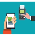hand holds smartphone dataphone payment online vector image