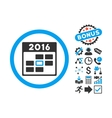 2016 Calendar Day Flat Icon with Bonus vector image vector image