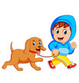 a boy running with dog vector image vector image