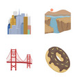 a megacity a grand canyon a golden gate bridge vector image vector image