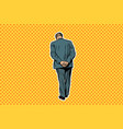 adult man standing with back pop art retro vector image