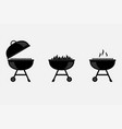 bbq grill icons black on white background vector image