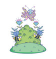 beautiful butterfly flying with bush vector image vector image