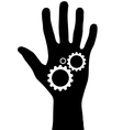 Black hand with gears vector image