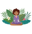 business woman meditation keep calm and relax vector image vector image