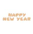 cartoon ginger bread cookies word happy new year vector image vector image