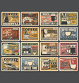 coffee retro posters coffee maker cafe drinks vector image