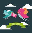 cute birds flying with envelope in beak mothers vector image vector image