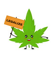 cute funny smiling happy marijuana green vector image