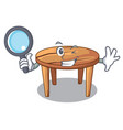 detective cartoon round wooden table in cafe vector image vector image