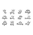 doodle crowns lettering crown with text elements vector image vector image