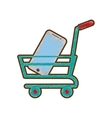 drawing shopping cart online mobile phone green vector image