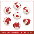 earth globes colection white red vector image vector image