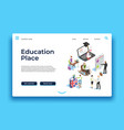 education landing page isometric people learning vector image
