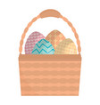 eggs painted in basket happy easter vector image vector image