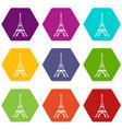 eiffel tower icon set color hexahedron vector image vector image
