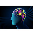 Electric brain activity in a human head vector image vector image