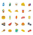 fast food isometric icons pack vector image