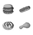 fast food meal and other web icon in monochrome vector image vector image