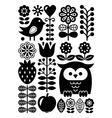 Finnish inspired folk art pattern Scandinavian vector image vector image