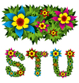 flowers alphabet 07 vector image