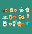funny breakfast food comic characters sett food vector image vector image