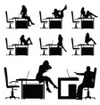 girl in the workplace posing on table silhouette vector image vector image
