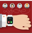 Group call through smart watches vector image