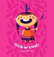 halloween poster trick or treat with red indian vector image vector image
