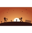 Halloween scary zombie in tomb vector image vector image