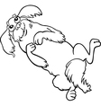 happy fluffy dog cartoon for coloring vector image vector image
