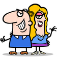 happy man and woman couple cartoon vector image