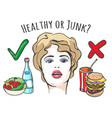 healthy and junk food concept vector image