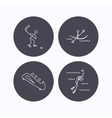 Ice hockey diving and kayaking icons vector image vector image