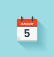 January 5 flat daily calendar icon Date vector image vector image