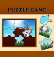 jigsaw puzzle game with happy easter bunnies vector image