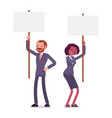 man and woman holding picket signs copy space vector image