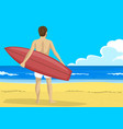 man with surfboard looking into the distance vector image vector image
