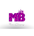 mb m b dots letter logo with purple bubbles vector image