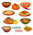 mexican cuisine icon of dinner dish and appetizers vector image vector image