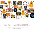 music retro symbols background vector image